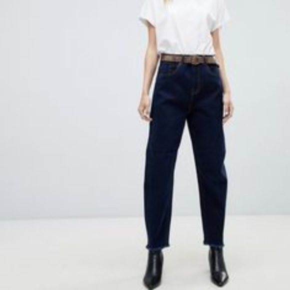 WHEART Pants - W HEART BAGGY BLUE CROPPED JEANS